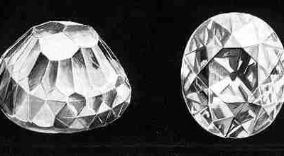Diamant voor en na slijpen
